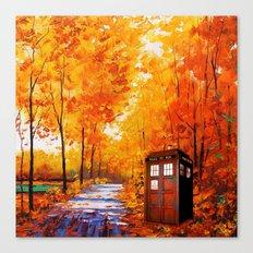 Tardis Autumn Art Painting Canvas Print