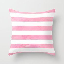 Pink Watercolor Stripe Throw Pillow