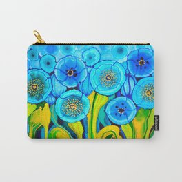 Field of Blue Poppies with Top and Bottom Border Belize Carry-All Pouch