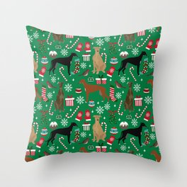 Christmas Greyhound pattern gifts for greyhound rescue dogs must have festive holiday dogs Throw Pillow