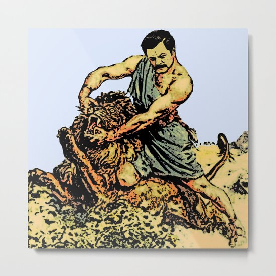 Ron Swanson Slaying A Lion  |  Parks and Recreation Metal Print