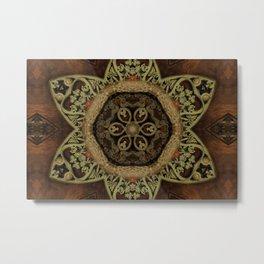 Ornamental Metal Flower On Wood Metal Print