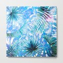 Aloha- Blue abstract Tropical Palm Leaves and Monstera Leaf Garden by originalaufnahme