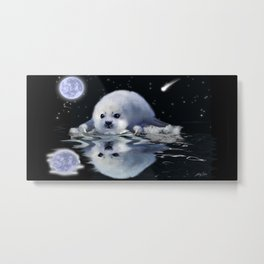 Destiny - Harp Seal Pup & Ice Floe Metal Print