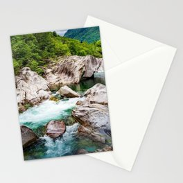 Glacial Turquoise River Verzasca, Lavertezzo, Sonogno, Switzerland photograph Stationery Cards