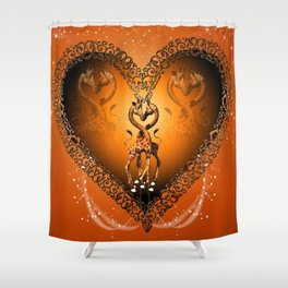 Cute giraffe couple Shower Curtain
