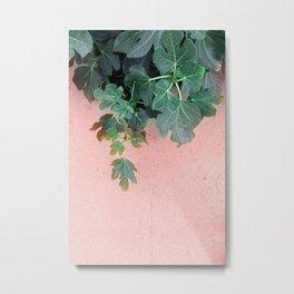 Pink Green Leaves Metal Print