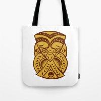 maori Tote Bags featuring Maori Mask Woodcut by patrimonio