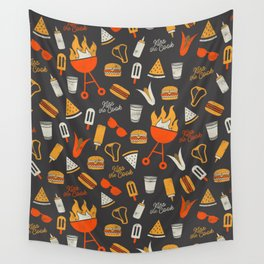 Kiss the Cook BBQ Pattern Wall Tapestry