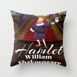 Hamlet by William Shakespeare cartoon poster Throw Pillow