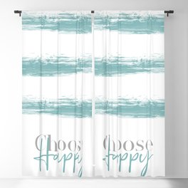 Text Art CHOOSE HAPPY | turquoise Blackout Curtain