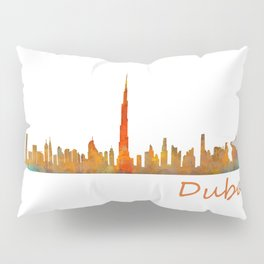 Dubai, emirates, City Cityscape Skyline watercolor art v1 Pillow Sham