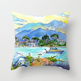 On the banks of the Magra River Throw Pillow