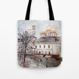 The Cathedral of the Dormition and Ivan the Great Bell Tower in the Moscow Kremlin Tote Bag