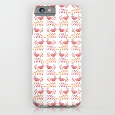 Orange floral pattern with bird Slim Case iPhone 6s