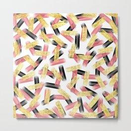 Elegant Pink, Black, and Gold Brushstroke Pattern Metal Print
