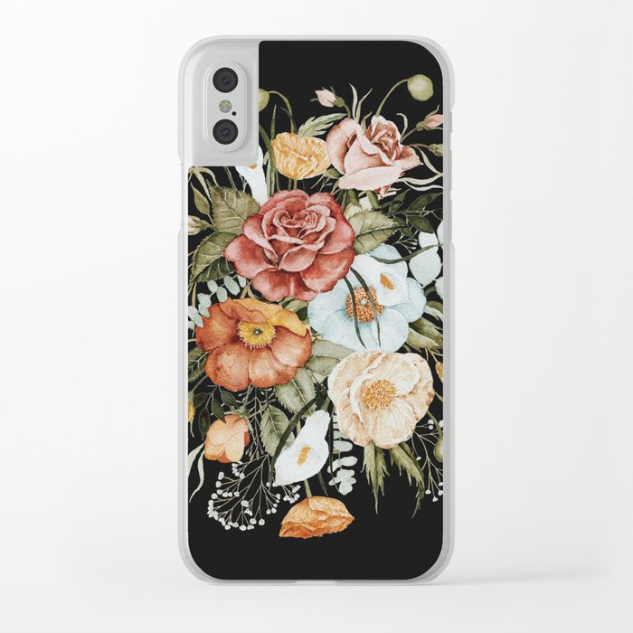 Roses and Poppies Bouquet on Charcoal Black Clear iPhone Case