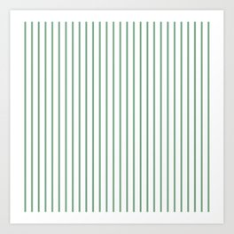 Moss Green Green Pin Stripe on White Art Print