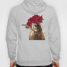 Highland Cown with Rose Crown in Pink Hoody