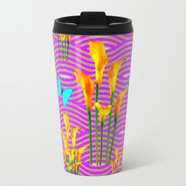 Pink Coral-Purple Blue Butterfly Lily Art Travel Mug