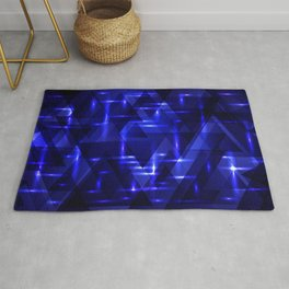 The heart of the ocean and the blue intersections on a dark background of metal. Rug
