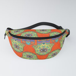 Colorful  Hamsa Hand pattern with paisley Fanny Pack