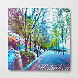 Hudson River Walk Way, Hoboken  Metal Print