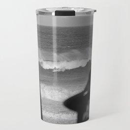 Massive wave with surfer Travel Mug