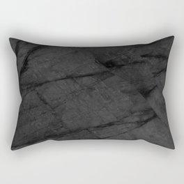 Dark Grey Matte Black Marble Rectangular Pillow