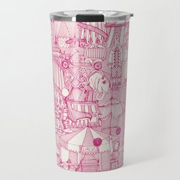 retro circus pink ivory Travel Mug