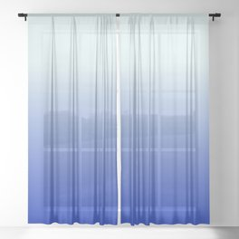 BRIGHT BLUE pastel color ombre pattern  Sheer Curtain
