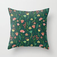 floral pattern Throw Pillows featuring Floral pattern by Julia Badeeva