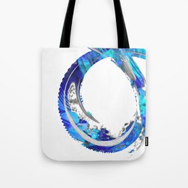 White And Blue Abstract Art - Swirling 4 - Sharon Cummings Tote Bag