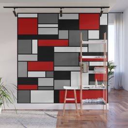 Mid Century Modern Color Blocks in Red, Gray, Black and White Wall Mural