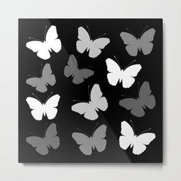Monochrome Butterflies Metal Print
