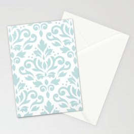 Scroll Damask Lg Pattern Duck Egg Blue on White Stationery Cards