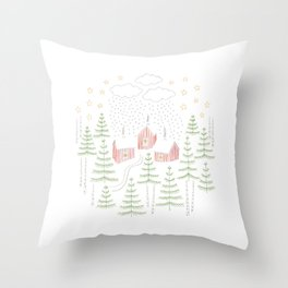 Snowy Winter Forest Village Drawing Throw Pillow