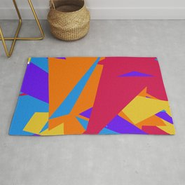Crzy Modern Triangles - Old Rose, Tahiti Gold, Cornflower Blue Rug