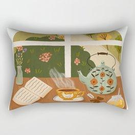 Tea Time by the Window Rectangular Pillow