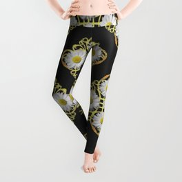 LACEY WHITE DAISIES ABSTRACT BLACK ART Leggings