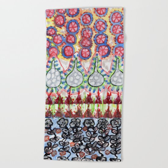 Garden with Silver Flowers and Flower Bulbs Beach Towel