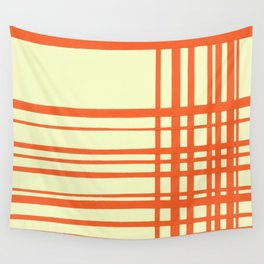Orange and cream plaid Wall Tapestry