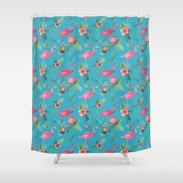 Pink Flamingo Tropical garden paradise Shower Curtain