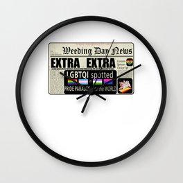 LGBT Gay Pride Flags Newspaper Unicorn Pug Funny Gift design Wall Clock