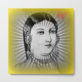 Matchbox Lady with Butterfly Metal Print