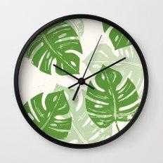 Linocut Monstera Leaf Pattern Wall Clock