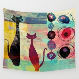 Mid-Century Modern 2 Cats - Graffiti Style Wall Tapestry