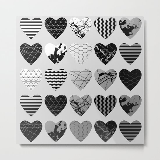 Metallic Love - Hexagon, stripes, triangles, geometric, marble, paint splat hearts! Metal Print