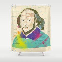 Portrait of William Shakespeare-Hand drawn Shower Curtain