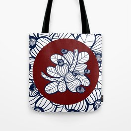 Navy Cashew Apple Tote Bag